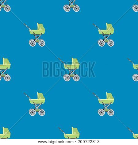 Cartoon Pram Or Baby Stroller Seamless Pattern