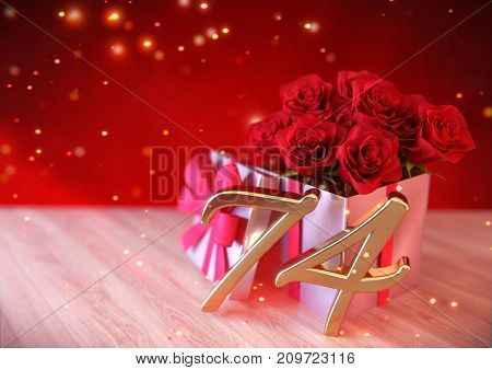 birthday concept with red roses in gift on wooden desk. 3D render - seventy-fourth birthday. 74th