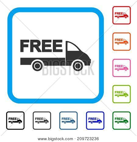 Free Delivery Car icon. Flat grey iconic symbol inside a light blue rounded frame. Black, gray, green, blue, red, orange color versions of Free Delivery Car vector. Designed for web and software UI.