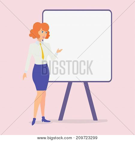 Vector. A woman stands at the stand and shows explains its contents. Presentation of the project. Empty canvas.