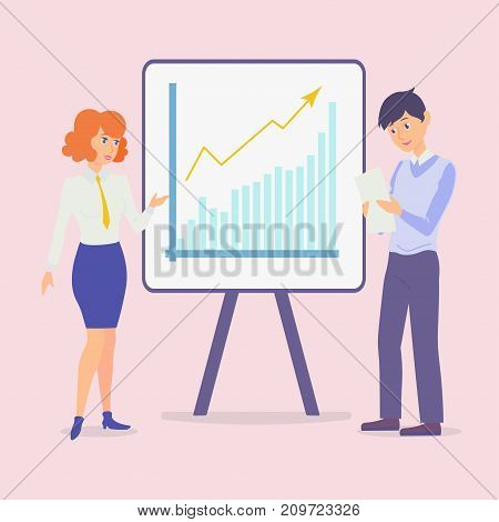 Vector. The employee reports to the manager about the project. The teacher helps the student. New work. Communication between two people. Stand with diagram.
