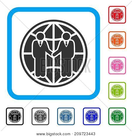 Global Partnership icon. Flat gray iconic symbol inside a light blue rounded squared frame. Black, gray, green, blue, red, orange color versions of Global Partnership vector.