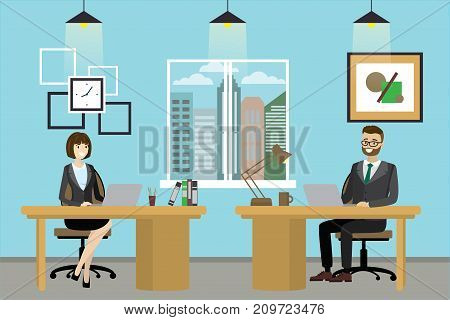 Two Cartoon Office Workers