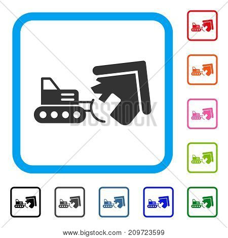 House Demolition icon. Flat grey iconic symbol inside a light blue rounded frame. Black, gray, green, blue, red, orange color additional versions of House Demolition vector.