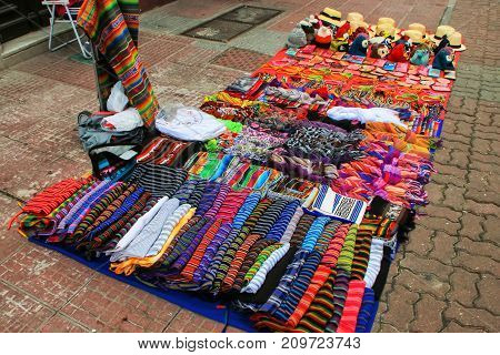 Display of traditional textile at the street market in Montevideo Uruguay. Montevideo is the capital and largest city of Uruguay.