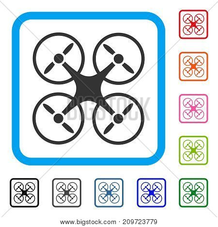 Nanocopter icon. Flat gray pictogram symbol in a light blue rounded rectangular frame. Black, gray, green, blue, red, orange color versions of Nanocopter vector. Designed for web and application UI.