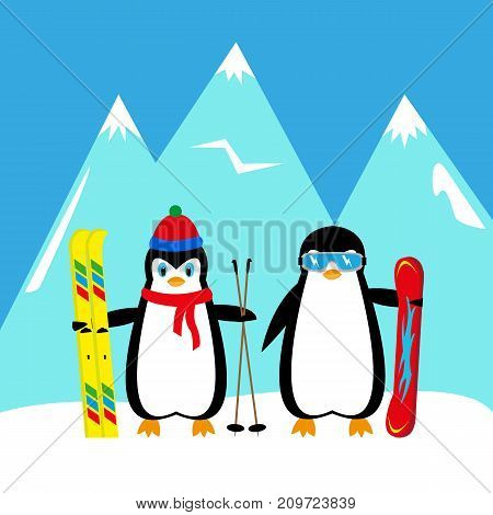 cartoon penguins snowboarder and skier in the mountains