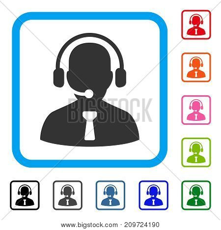 Reception Operator icon. Flat grey pictogram symbol inside a light blue rounded square. Black, gray, green, blue, red, orange color variants of Reception Operator vector.