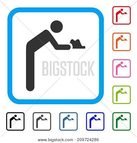 Servant Person icon. Flat gray pictogram symbol inside a light blue rounded rectangle. Black, gray, green, blue, red, orange color variants of Servant Person vector. Designed for web and software UI.