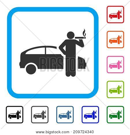 Smoking Taxi Driver icon. Flat grey pictogram symbol in a light blue rounded frame. Black, gray, green, blue, red, orange color versions of Smoking Taxi Driver vector.