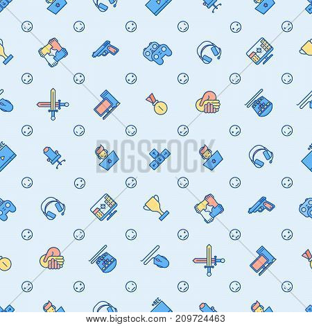 Cybersport seamless pattern with thin line icons: gamer, computer games, pc, headset, mouse, game controller. Modern vector illustration for banner, web page, print media. poster