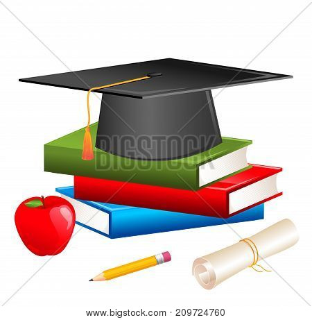 Grad hat and diploma with books. Illustration