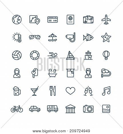 Vector thin line icons set and graphic design elements. Illustration with travel, tourism outline symbols. Summer vacation, hotel room service, luggage, sunglasses, passport, resort linear pictogram