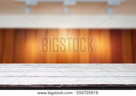 Empty Wood Table And Blurred Booked Cafe Light Background. Product Display Template. Business Presen