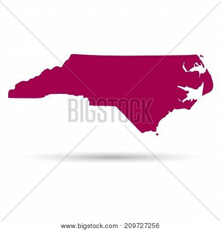 Map of the U.S. state of North Carolina on a white background