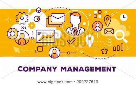Vector Illustration Of Communication Business People, Graph And Icons. Company Management Concept On