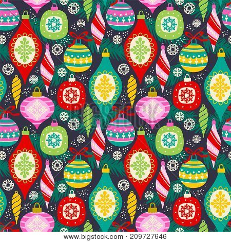 Vector seamless pattern with New Year and Christmas symbols. Desig element.