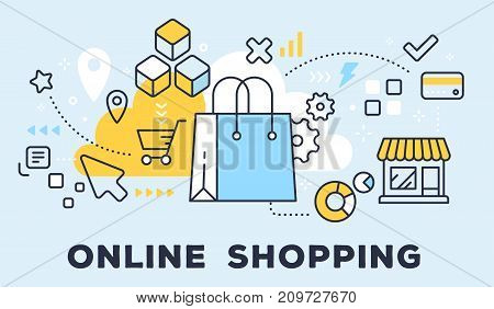 Vector Illustration Of Shopping Hand Bag, Store And Icons. Online Shopping Concept On Blue Backgroun