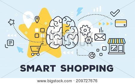 Vector Illustration Of Human Brain, Store And Icons. Smart Shopping Concept On Blue Background With