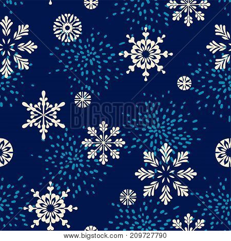 Vector winter seamless pattern with snowflakes. Trendy hand drawn texture. Design for textile, wall art, wrapping paper, wallpaper and other uses.