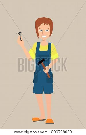 woman character with hammer and nails - funny vector cartoon illustration of skillful housekeeper