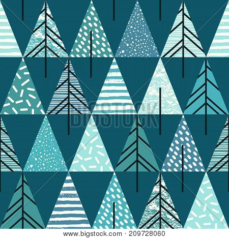 Abstract geometric seamless repeat pattern with christmas trees. Trendy hand drawn textures. Modern abstract design for paper, cover, fabric, interior decor and other users.