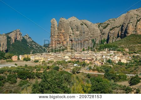 View of the old town built below Aguero Mountains, Huesca, Spain n2