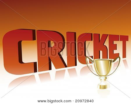 abstract cricket background with isolated golden trophy, illustration