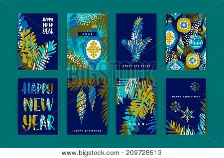 Set of artistic creative Merry Christmas and Nyew Year cards. Hand Drawn textuires. Design for poster, card, invitation, placard, brochure, flyer. Vector templates.