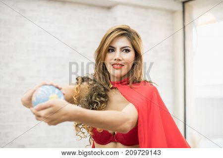 Super sexy girl in sexy red dress showing The strong.