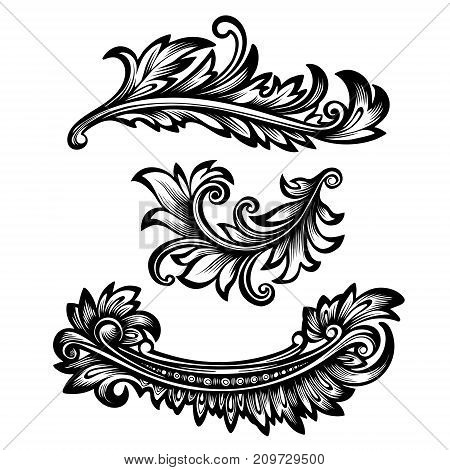 Vector black and white vintage decor elements in baroque style