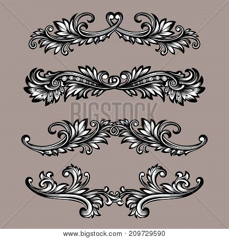 Vector black and white vintage symmetrical decor elements in baroque style