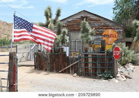 Hackberry, Arizona, USA - July 7, 2017: Old Patrol Station at roadside memorabilia store along Route 66. The historic route 66 is now Freeway 40.