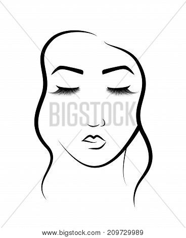 The face of a beautiful girl. Logo for beauty salon. Procedure for eyelash extension and permanent makeup. Vector