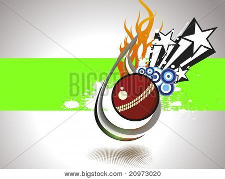abstract grungy background with isolated fiery cricket ball