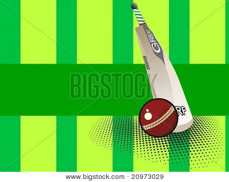 abstract dotted green background with isolated bat and ball