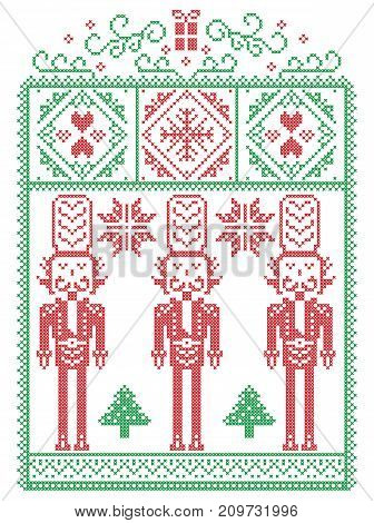 Elegant Christmas Scandinavian, Nordic style winter stitching, pattern including snowflake, heart, nutcracker soldier, Christmas tree, Christmas present, snow in red, green in decorative frame