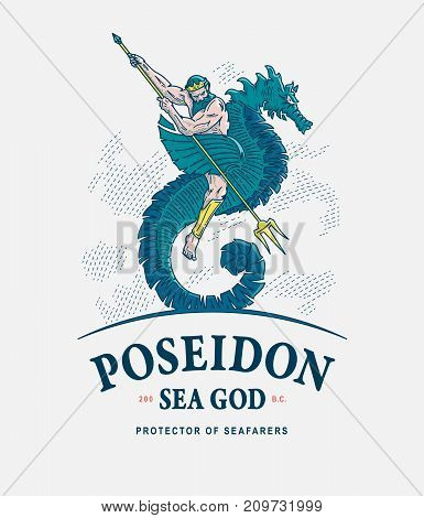 Vector illustration of Poseidon god of the seas riding a seahorse