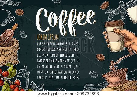 Template poster with coffee hand holding disposable cup with cardboard holder and cap, beans, cinnamon, branch, leaf, berry. Vintage color and white vector engraving illustration on dark background.
