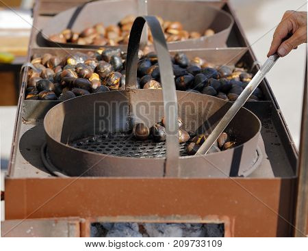 ancient bracere for the baking of the chestnuts