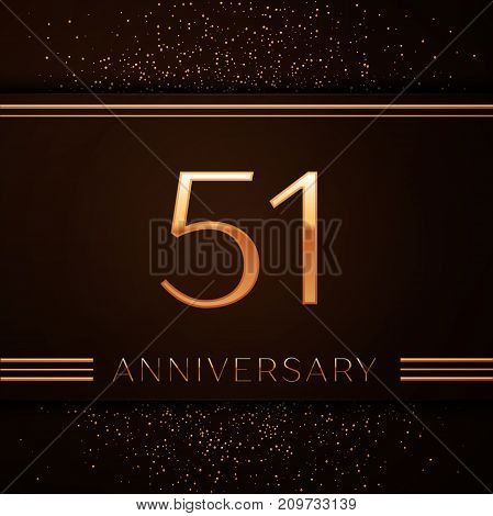 Realistic Fifty one Years Anniversary Celebration Logotype. Golden numbers and golden confetti on brown background. Colorful Vector template elements for your birthday party