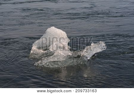 Unique icefloe in the icey waters of Iceland