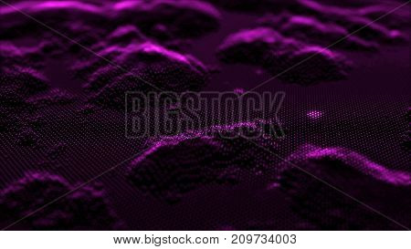 Array with Dynamic Emitted Particles. Flowing Particle Waves. Abstract Science or Technology Background. Graphic Design. Abstract background with bokeh defocused lights. Bokeh on black background