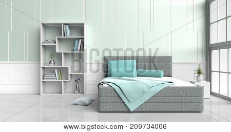 White-green bed room decorated with ,tree in glass vase, green pillows, Wood bedside table, Bookcase, green blanket, Window, green -white cement wall it is pattern, white cement floor. 3d rendering.