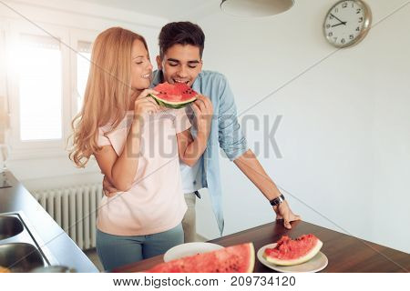 Couple having breakfast in the morning,enjoying together.