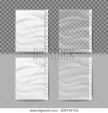 Plastic File Vector. A4 Size. Store And Protect Paper Documents. Business Form Pocket Mock Up. Isolated