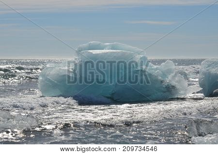 Close up of a large iceberg in an Icelandic lagoon