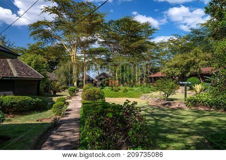 Tropical vacation concept. Scenic view of lodges and bungalows in Africa
