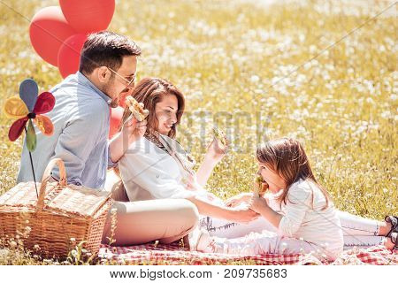 Parents and child having funeating lunch outdoors in summer park.