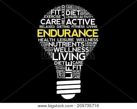 Endurance Bulb Word Cloud Collage